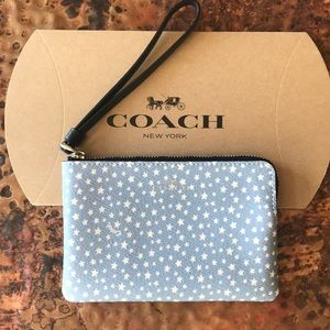 COACH Blue Wristlet w/ White Stars. New with tags.